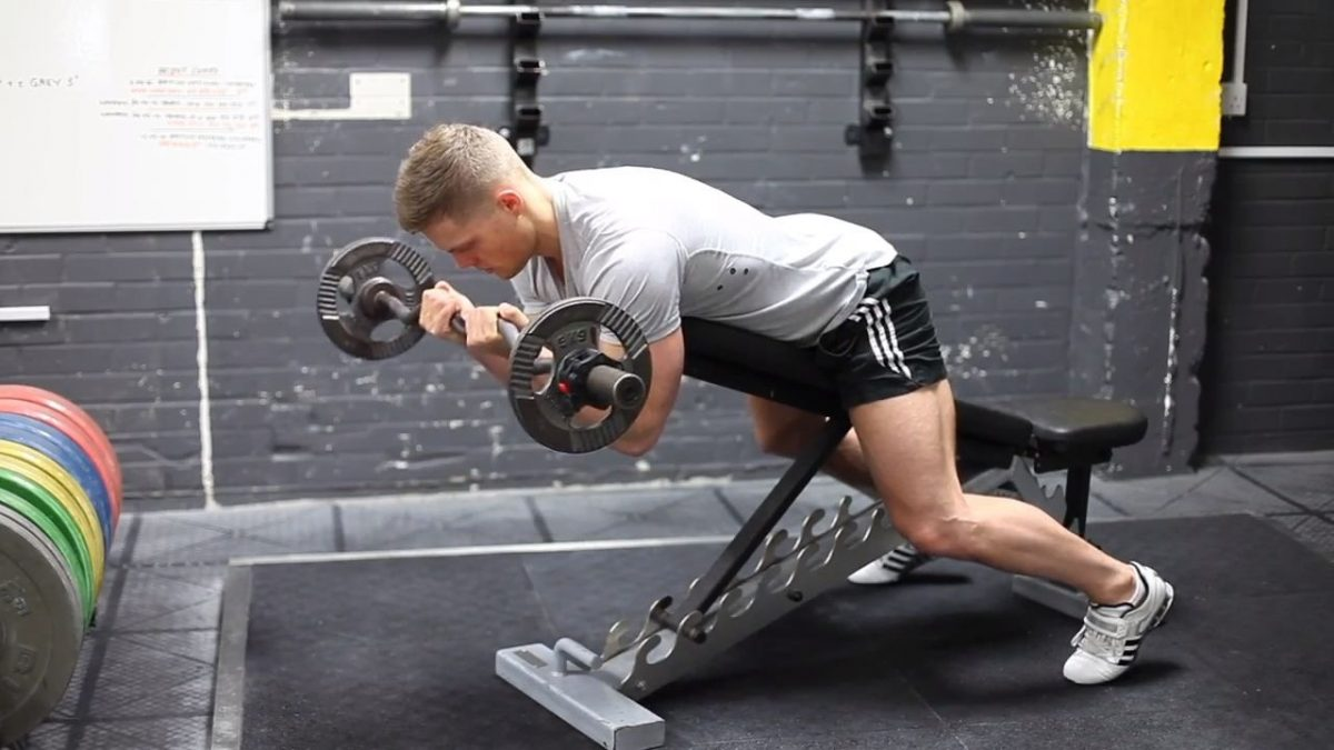 Chest Supported EZ Bar Bicep Curls Narrow Grip