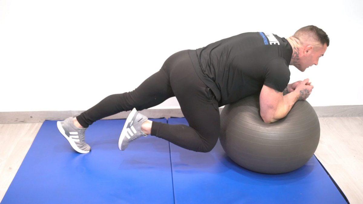 Swiss Ball Plank With Knee Raises